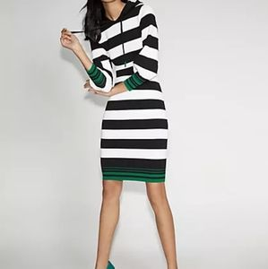 Hooded striped sweater dress